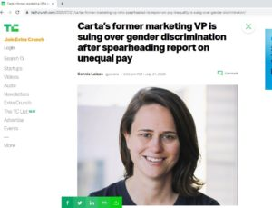 Screenshot of TechCrunch article