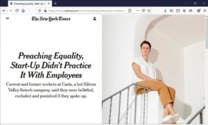 A screenshot of the New York Times article