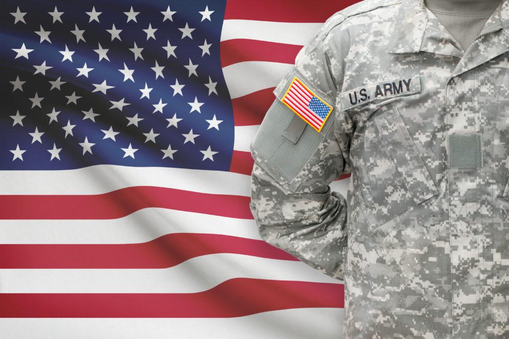 US Army uniform and flag