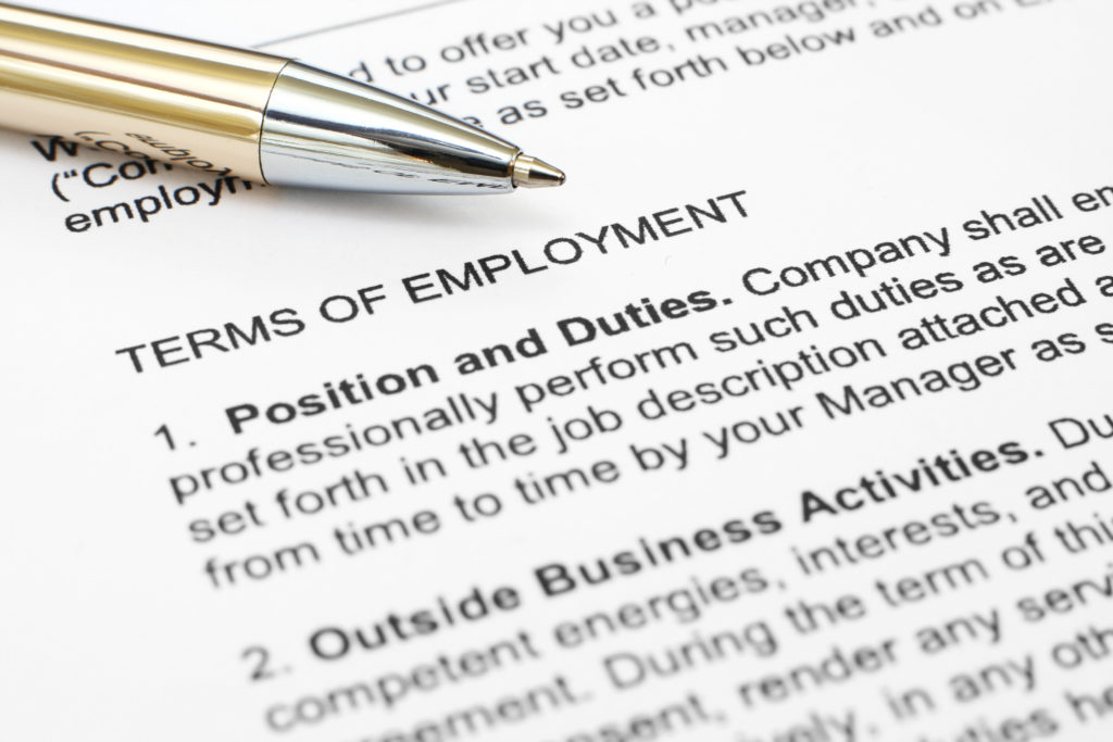 Close up of an employment contract
